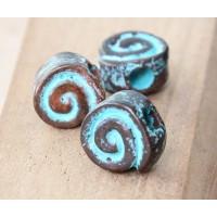 10mm Snail Flat Round Beads, Green Patina