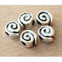14mm Snail Flat Round Beads, Antique Silver