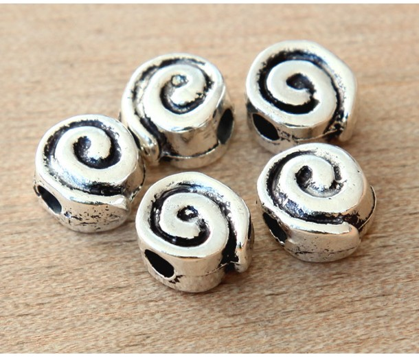 10mm Snail Flat Round Beads, Antique Silver, Pack of 6
