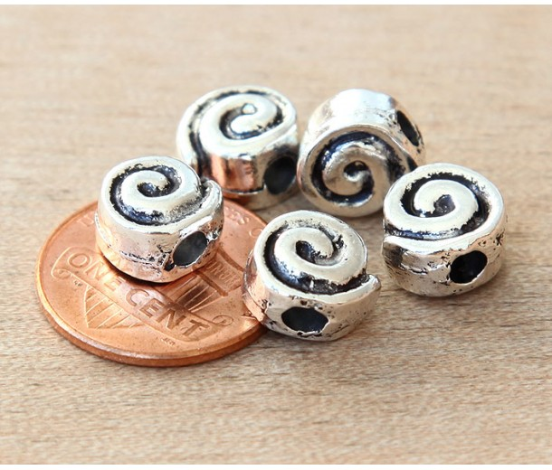 10mm Snail Flat Round Beads, Antique Silver, Pack of 5