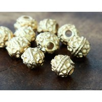 6mm Round Ornate Beads, Gold Plated