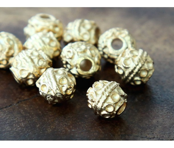 6mm Round Ornate Beads, Gold Plated, Pack of 10