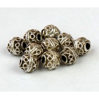 6mm Round Ornate Beads, Antique Silver