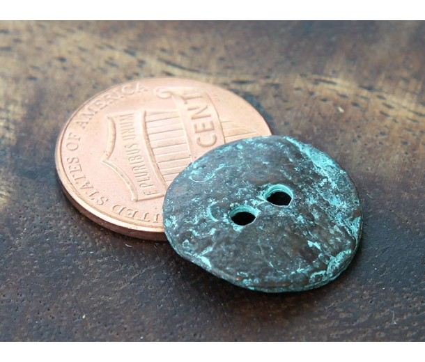 16mm Cornflake Button Beads, Green Patina