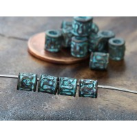5mm Tiny Ornate Barrel Beads, Green Patina