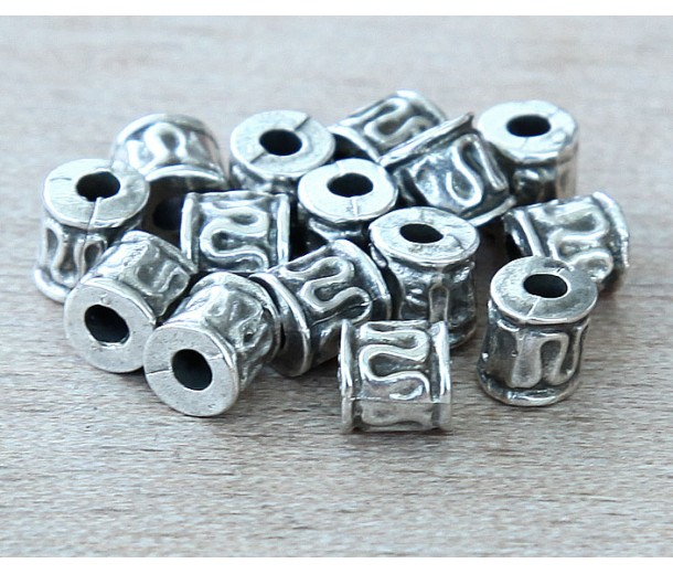 5mm Tiny Ornate Barrel Beads, Antique Silver
