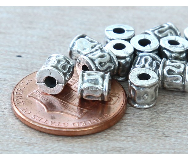 5mm Tiny Ornate Barrel Beads, Antique Silver, Pack of 10