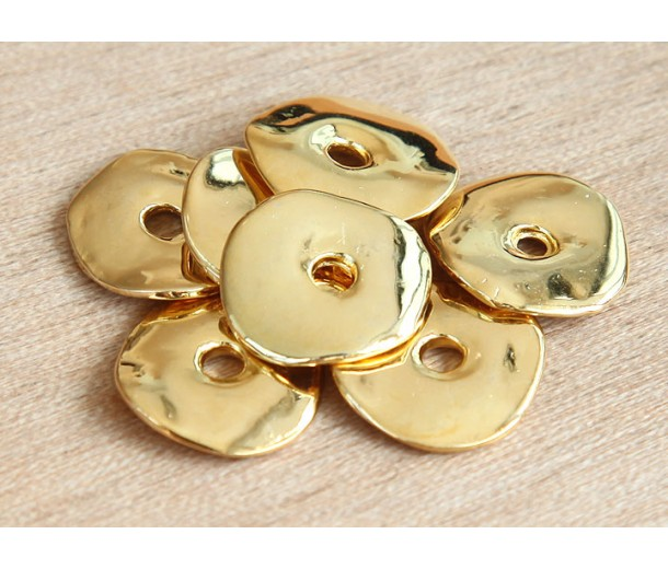 15mm Cornflake Disk Beads, Gold Plated