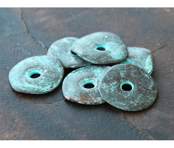 15mm Cornflake Disk Beads, Green Patina, Pack of 8