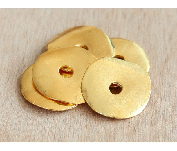 23mm Cornflake Disk Beads, Gold Plated