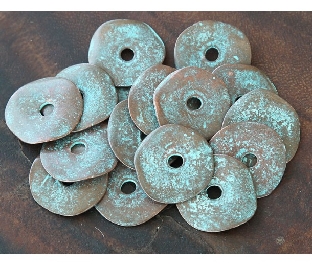 23mm Cornflake Disk Beads, Green Patina, Pack of 4
