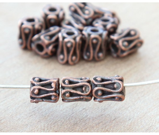 6mm Ornate Column Beads, Bronze Plated