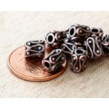 6mm Ornate Column Beads, Bronze Plated, Pack of 10