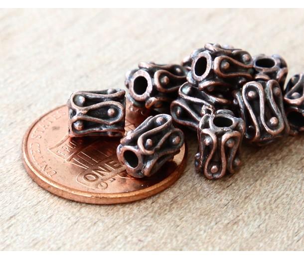 6mm Ornate Column Beads, Bronze Plated