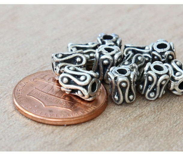 6mm Ornate Column Beads, Antique Silver, Pack of 10