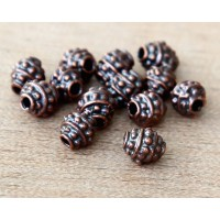 5mm Oval Bali Style Beads, Bronze Plated