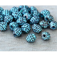 5mm Oval Bali Style Beads, Green Patina