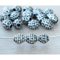 5mm Oval Bali Style Beads, Antique Silver, Pack of 20