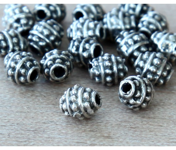 5mm Oval Bali Style Beads, Antique Silver