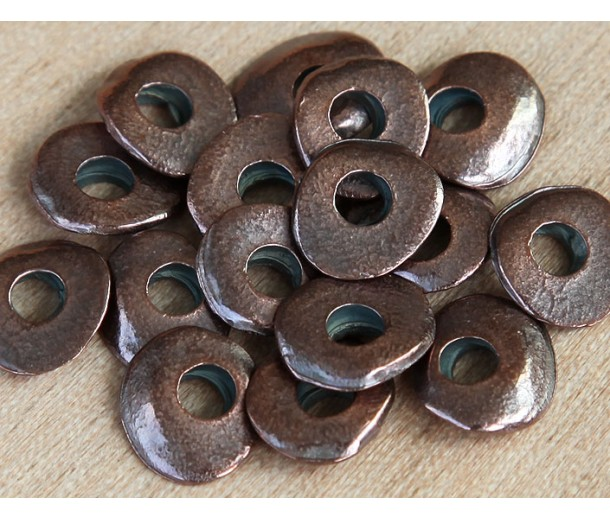 12x10mm Cornflake Disk Beads, Bronze Plated