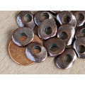 12x10mm Cornflake Disk Beads, Bronze Plated, Pack of 10