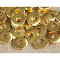 12x10mm Cornflake Disk Beads, Gold Plated