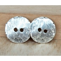 16mm Cornflake Button Beads, Antique Silver