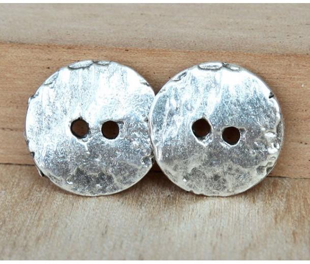 16mm Cornflake Button Beads, Antique Silver