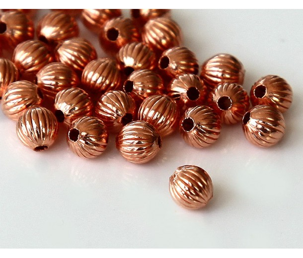 4mm Corrugated Round Beads, Shiny Copper, Pack of 50