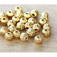 4mm Corrugated Round Beads, Gold Plated