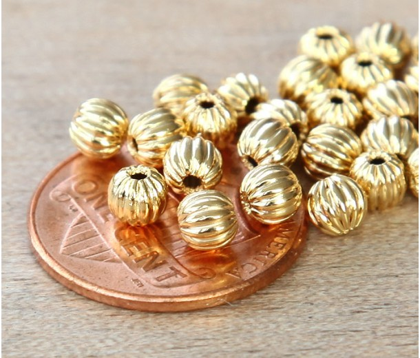 5mm Corrugated Round Beads, Gold Plated, Pack of 50