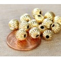 6mm Corrugated Round Beads, Gold Plated