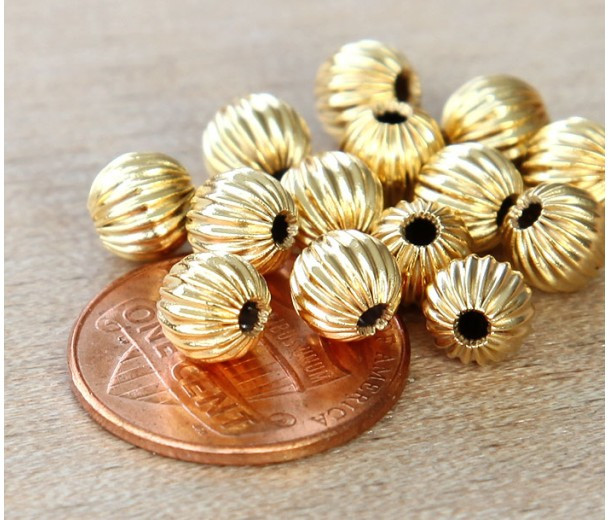 6mm Corrugated Round Beads, Gold Plated, Pack of 25