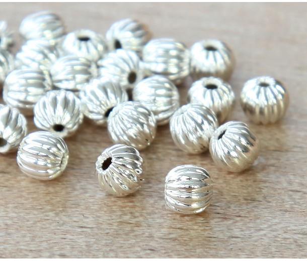 4mm Corrugated Round Beads, Silver Plated
