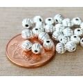 5mm Corrugated Round Beads, Silver Plated, Pack of 50