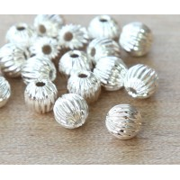 6mm Corrugated Round Beads, Silver Plated, Pack of 25