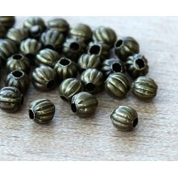 4mm Corrugated Round Beads, Antique Brass