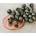 4mm Corrugated Round Beads, Antique Brass, Pack of 100