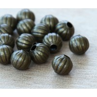 8mm Corrugated Round Beads, Antique Brass, Pack of 50