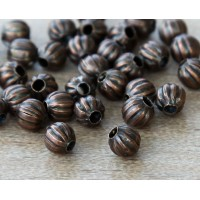 4mm Corrugated Round Beads, Antique Copper
