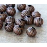 8mm Corrugated Round Beads, Antique Copper, Pack of 50
