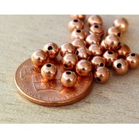 4mm Smooth Round Beads, Shiny Copper