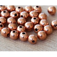 5mm Smooth Round Beads, Shiny Copper