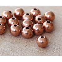 7mm Smooth Round Beads, Shiny Copper