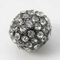 Crystal Gunmetal Tone Rhinestone Ball Beads, 10mm Round