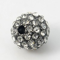 Crystal Gunmetal Tone Rhinestone Ball Beads, 12mm Round, Pack of 5