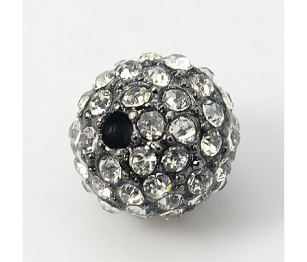 Crystal Gunmetal Tone Rhinestone Ball Beads, 12mm Round