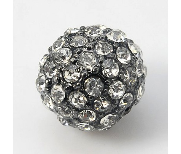 Crystal Gunmetal Tone Rhinestone Ball Beads, 10mm Round, Pack of 5