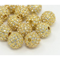 Crystal Gold Tone Rhinestone Ball Beads, 10mm Round, Pack of 5