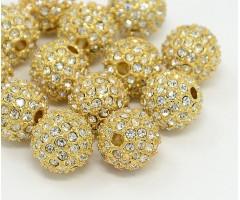 Crystal Gold Tone Rhinestone Ball Beads, 10mm Round, Pack of 5